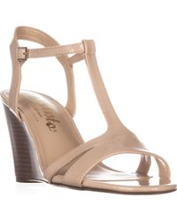 Callisto - Upright T-strap Wedge Sandals - Lyst