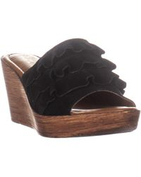 Bella Vita Bey-italy Ruffled Wedge Sandals - Black