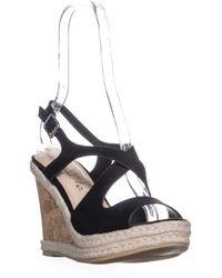 Callisto - Brielle Wedge Slingback Peep Toe Sandals - Lyst