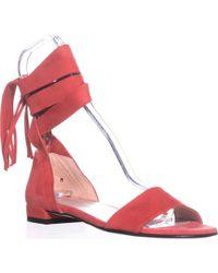 Stuart Weitzman Corbata Lace Up Flat Sandals - Red