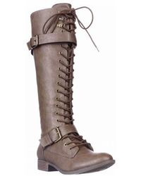 Rocket Dog - Beany Lace-up Knee High Boots, Tan - Lyst