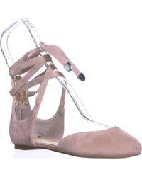 Ivanka Trump Elise Lace Up Ballet Flats - Natural
