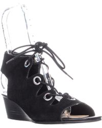 Bella Vita Ingrid Lace Up Wedge Sandals - Black