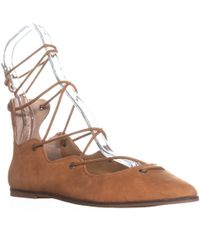 Lucky Brand Billoh Lace-up Pointed Toe Flats - Brown