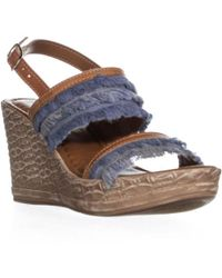 Easy Street - Zaira Fringe Wedge Sandals - Lyst
