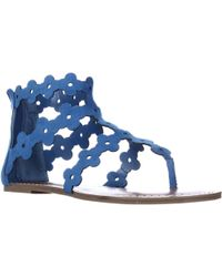 Carlos By Carlos Santana Lacey Lace-up Gladiator Wedge Sandals - Blue