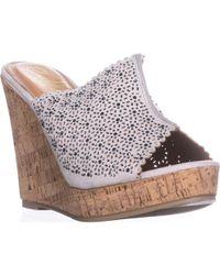 Callisto Lovie Embellished Platform Wedge Sandals - Gray