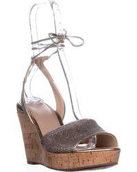 Guess Wedinna Platform Ankle-strap Sandals - Metallic