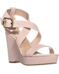 BCBGeneration Jae Velour Microsuede Wedge Sandals - Pink