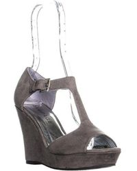 Rampage - Cooler Peep Toe To Strap Wedge Sandals - Lyst