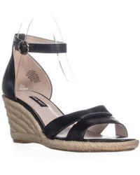 Nine West Jeranna Wedge Heel Espadrilles Sandals - Black