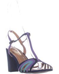 Callisto Campie Block Heel Ankle Strap Sandals - Blue