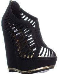Steve Madden Wresse Platform Wedge Heels - Black