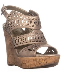 Guess Vannora Wedge Ankle Strap Wedge Heels - Natural