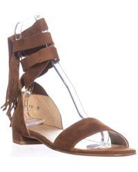 Stuart Weitzman Corbata Lace Up Flat Sandals - Brown