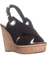 BCBGeneration Penelope Open Toe Wedge Sandals - Black