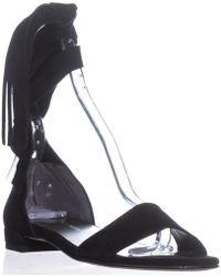 Stuart Weitzman Corbata Lace Up Flat Sandals - Black