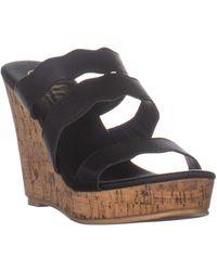 Callisto Flure Triple Strap Wedge Sandals - Black