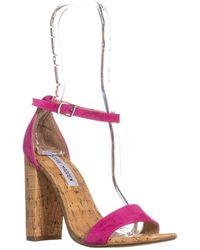 Steve Madden - Carson Rhinestone Heel Ankle Strap Sandals, Hot Pink - Lyst