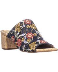 Aerosoles Mid Level Peep Toe Block Heel Slip On Sandals - Blue
