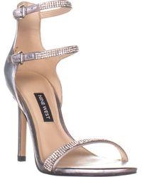 Nine West Iliana Ankle Strap Heeled Sandals - Metallic