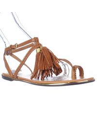 Report Citrine Ring-toe Flat Sandals, Tan - Brown