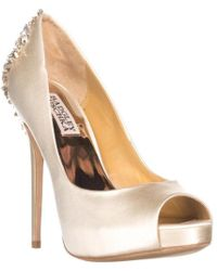9971dc67043fd5 Badgley Mischka - Kiara Jewelled Heel Platform Peep Toe Court Shoes - Lyst