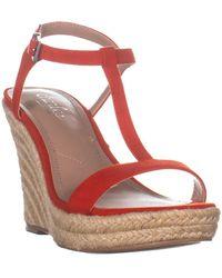 Charles David Lili Espadrille Wedge Sandals - Red