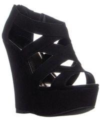 Madden Girl - Wikke Wedge Sandals, Black - Lyst