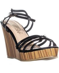 d8413155cac0c Lyst - Skechers Wedge Appeal Brush Off Ankle Strap Sandal