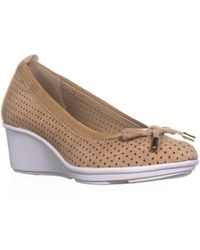 Anne Klein - Carissa Perforated Bow Tie Wedge Court Shoes - Lyst