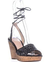 Guess Edinna Platform Wedge Sandals - Black