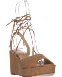 Chinese Laundry Cindy Platform Lace Up Sandals - Natural