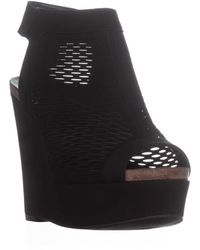 Vince Camuto - Kyrene Wedge Platform Peep Toe Sandals, Black - Lyst