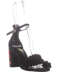 Kenneth Cole Rise Ruffle Ankle-strap Sandals - Black