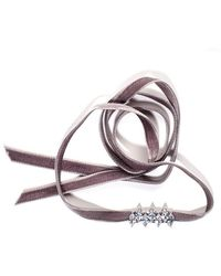 Fallon - Monarch Mini Velvet Jagged Choker Grey - Lyst