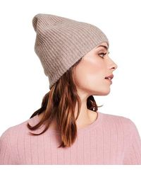 White + Warren Plush Rib Beanie - Chinchilla - Brown