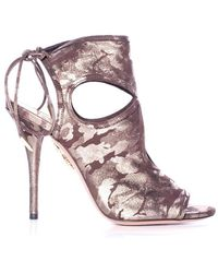 Aquazzura - Sexy Thing Metallic Camouflage Suede Bootie - Lyst