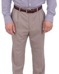 Ralph Lauren Classic Fit Tan Textured Double Pleated Wool Dress Pants - Natural