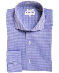 Modena Slim Fit Check Cutaway Collar Cotton Blend Stretch Dress Shirt - Blue