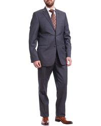Ralph Lauren Slim Fit Navy Pindot Two Button Wool Suit - Blue