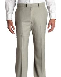 Perry Ellis Classic Fit Textured Flat Front Non Iron Washable Dress Pants - Gray