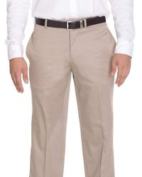 Bloomingdale's Bloomingdales Classic Fit Solid Khaki Flat Front Cotton Washable Casual Pants - Natural