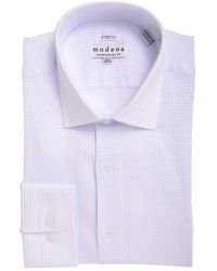 Modena Slim Fit White & Check Spread Collar Cotton Blend Stretch Dress Shirt - Blue