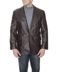 Kenneth Cole Reaction Genuine Leather Casual Jacket With Peak Lapels - Brown