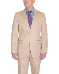Ralph Lauren Slim Fit Solid Tan Two Button Cotton Suit - Gray