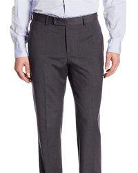 Nautica Regular Fit Charcoal Mini Check Flat Front Stretch Wool Dress Pants - Gray