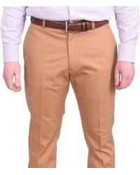 Perry Ellis Slim Fit Solid Khaki Tan Flat Front Washable Casual Pants - Natural