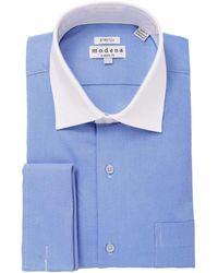 Modena Cotton Contrast Collar Regular Fit French Cuff Stretch Dress Shirt - Blue