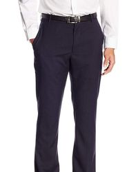 Perry Ellis Slim Fit Herringbone Flat Front Non Iron Washable Dress Pants - Blue